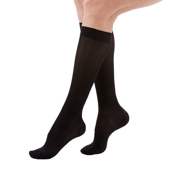 Medi Duomed Transparent Sheer Closed Toe Knee Highs - 15-20 mmHg - Black