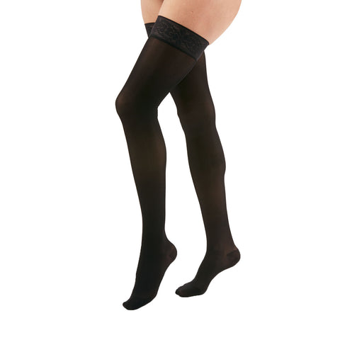 Medi Duomed Transparent Sheer Closed Toe Thigh Highs w/Lace Top Band - 15-20 mmHg - Black
