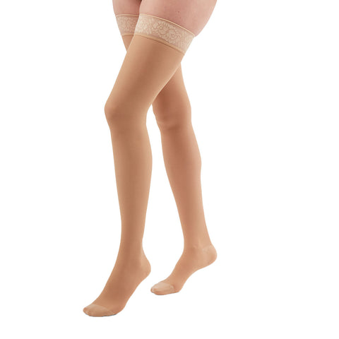 Medi Duomed Transparent Sheer Closed Toe Thigh Highs w/Lace Top Band - 20-30 mmHg - Nude