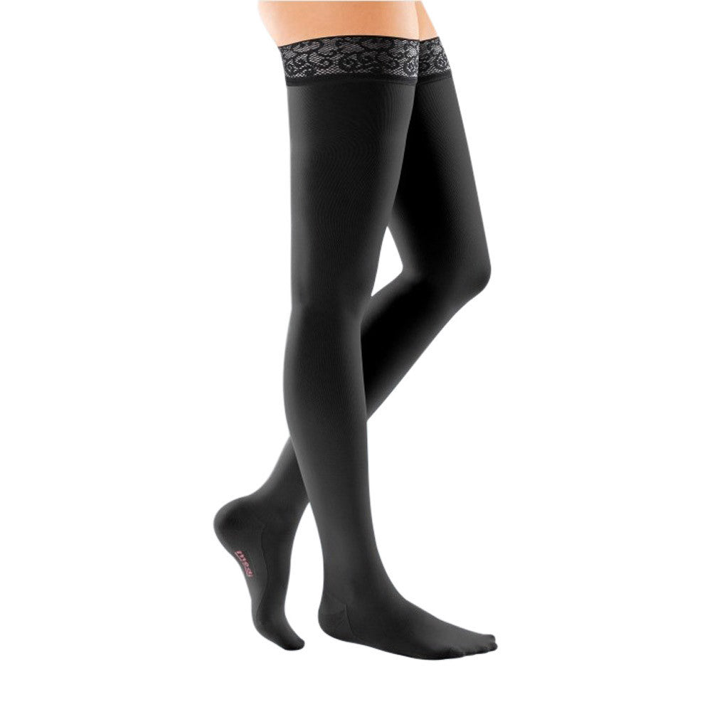 Mediven Comfort 20-30 mmHg OPEN TOE Thigh Highs w// Lace Silicone Top Band