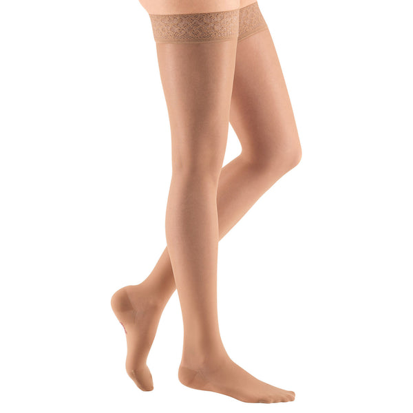 Medi Sheer & Soft Closed Toe Thigh Highs w/ Lace Band - 8-15 mmHg - Natural