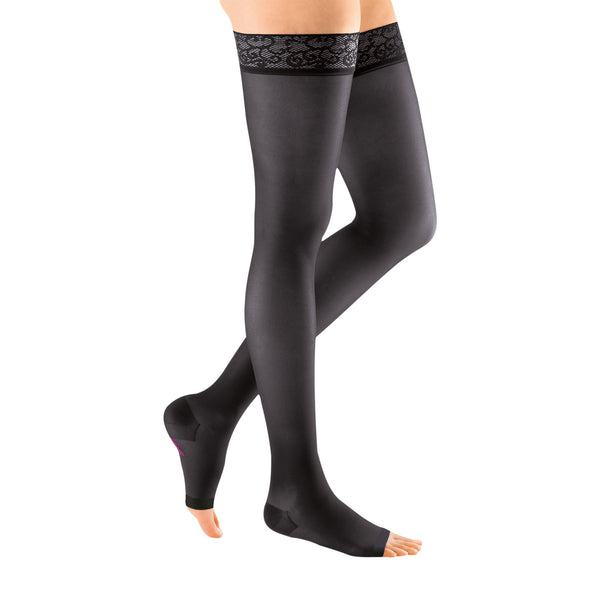 Medi Sheer & Soft Open Toe Thigh Highs w/ Lace Band - 30-40 mmHg - Ebony