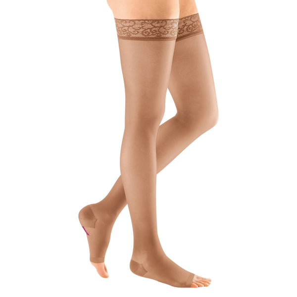Medi Sheer & Soft Open Toe Thigh Highs w/ Lace Band - 15-20 mmHg