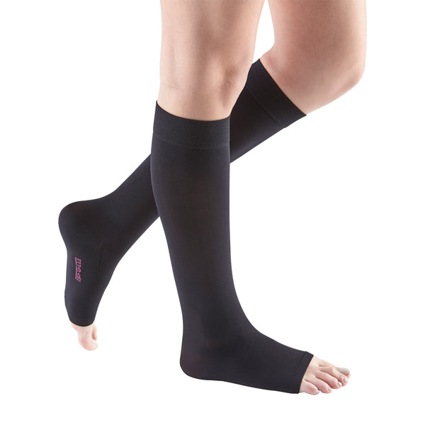 Medi Comfort Open Toe Knee Highs - 15-20 mmHg - Ebony