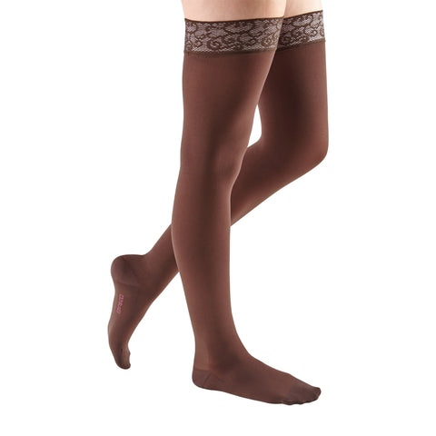 Medi Comfort Closed Toe Thigh Highs w/ Lace Band - 20-30 mmHg -Chocolate