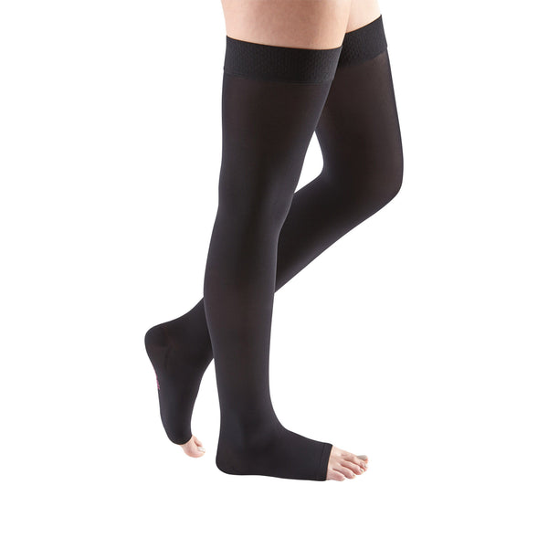 Medi Comfort Open Toe Thigh Highs w/Silicone Dot Band - 30-40 mmHg - Ebony