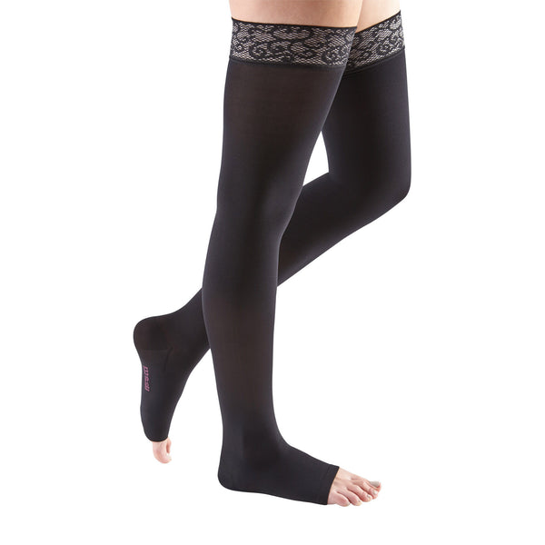 Medi Comfort Open Toe Thigh Highs w/ Lace Band - 15-20 mmHg - Ebony