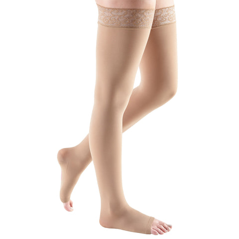 Medi Comfort Open Toe Thigh Highs w/ Lace Band - 20-30 mmHg