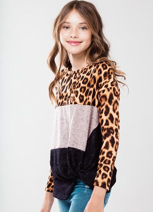 Animal Print Front Knot Top
