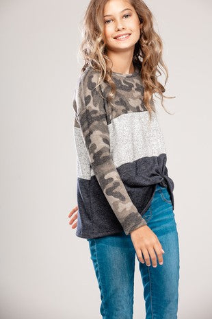 Kids Camo Color Block Front Knot Top
