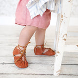 Rust Brown Boho Gladiator Moccs - Short and long laces!