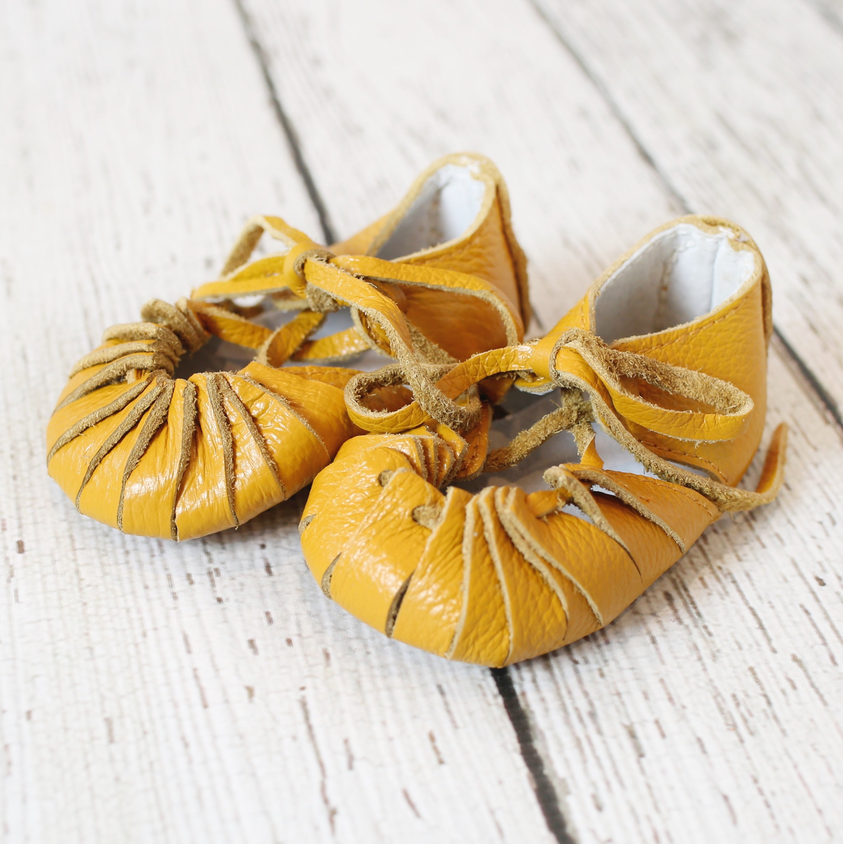 Mustard Boho Gladiator Moccs - Short and long laces!