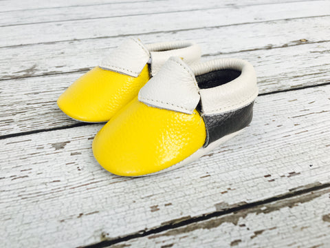 CLEARANCE - FINAL SALE- Mustard/Grey Two-tone Leather Baby Moccs