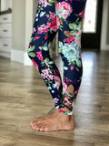 Navy Floral Criss Cross Leggings