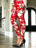 Red Floral Criss Cross Leggings