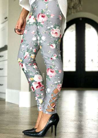 Grey Floral Criss Cross Leggings