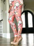Coral Floral Criss Cross Leggings