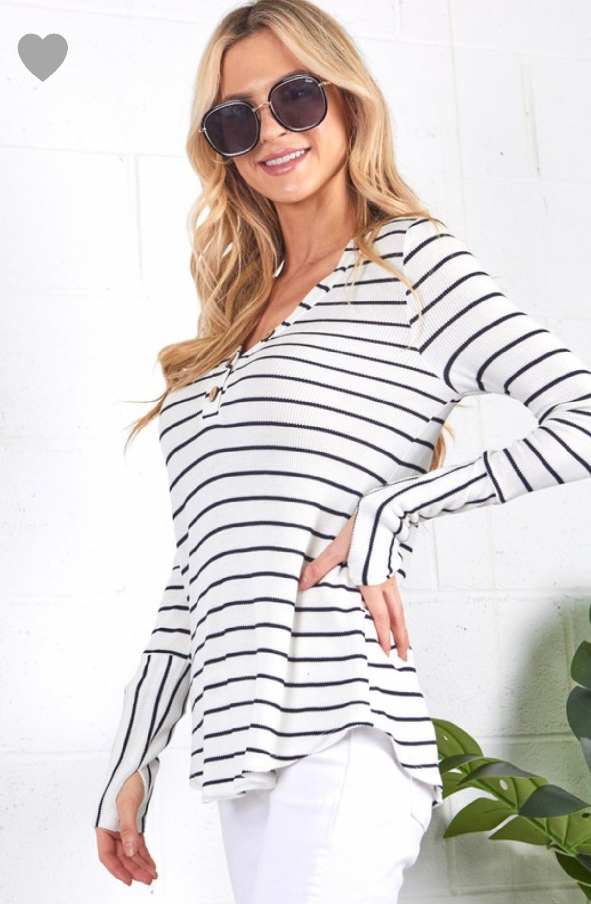 Black and White Stripe top with thumb holes
