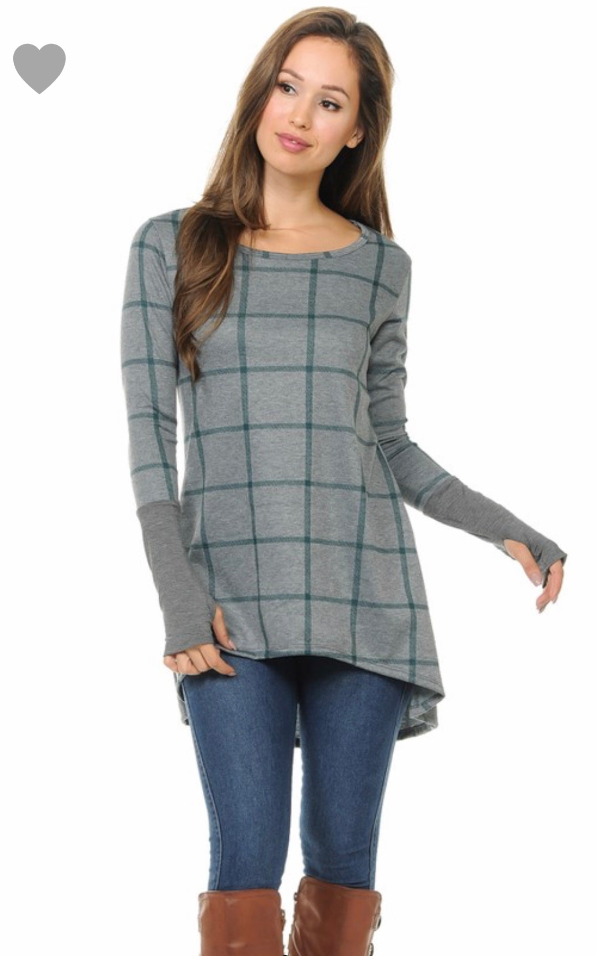 High Low Teal Plaid Tunic top