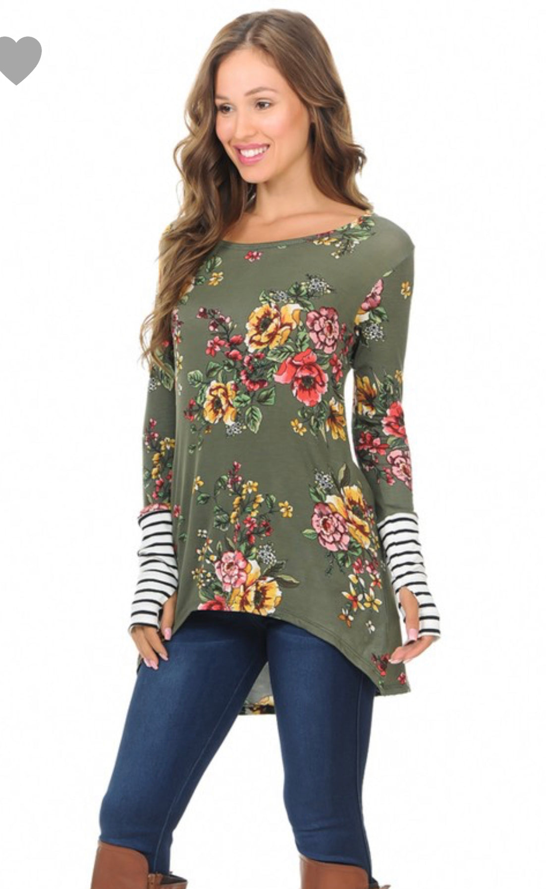 Olive Floral High Low Top with Thumbholes