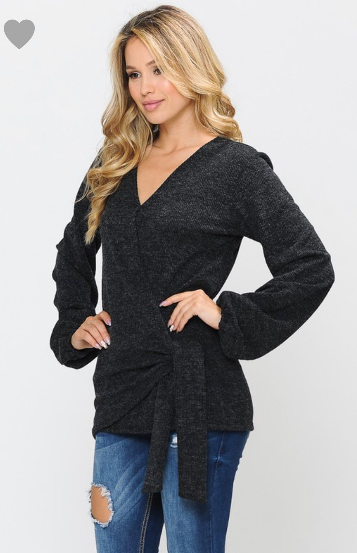 Overlap Side Tie Long Sleeve Top