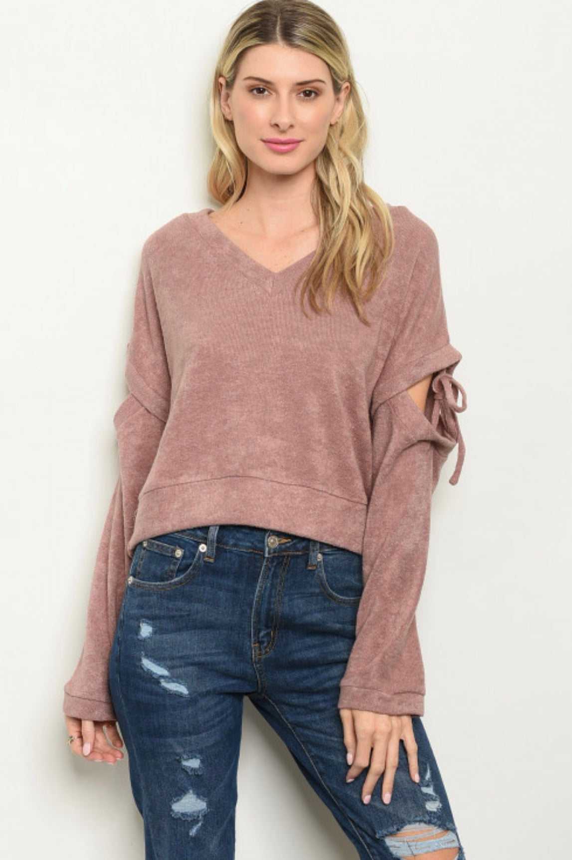Cropped Sweater with Tied Sleeves