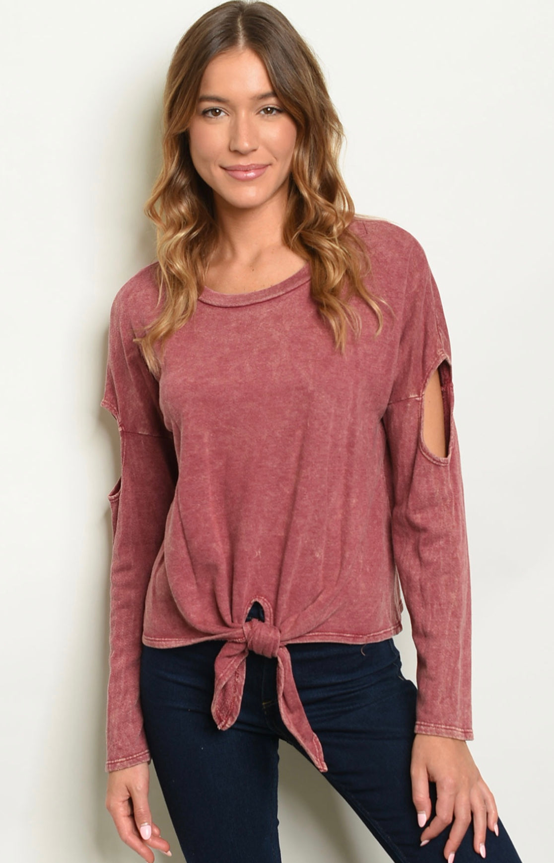 Front tie Distressed Cold Shoulder Long Sleeve Top