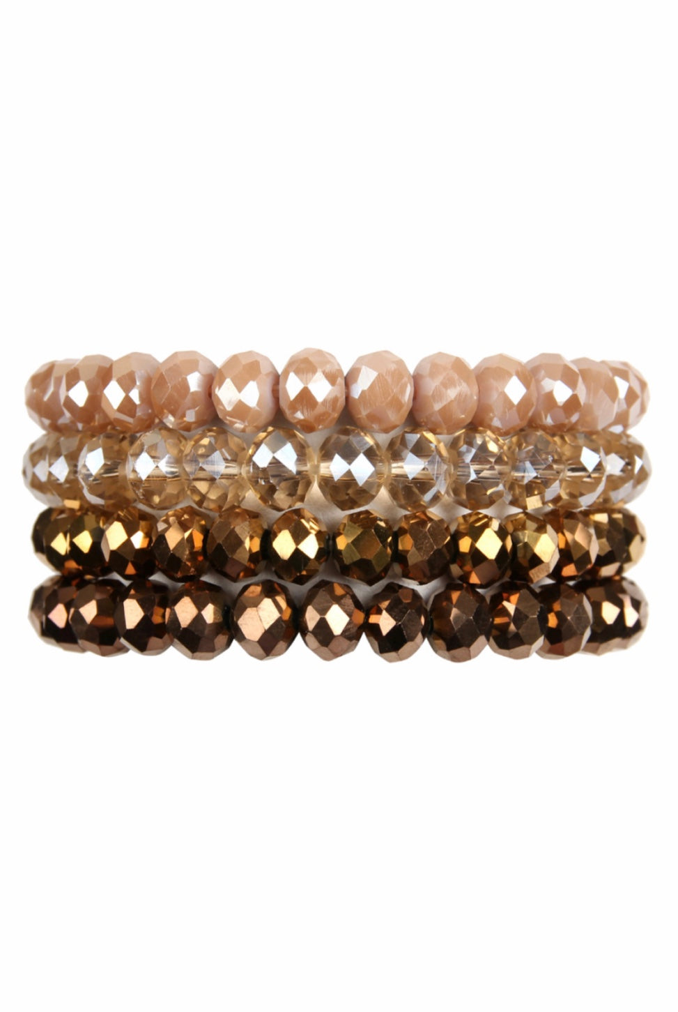 Sparkly Brown Glass Bead Stacked Bracelet