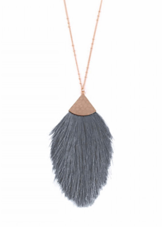 Grey Tassel Drop Necklace