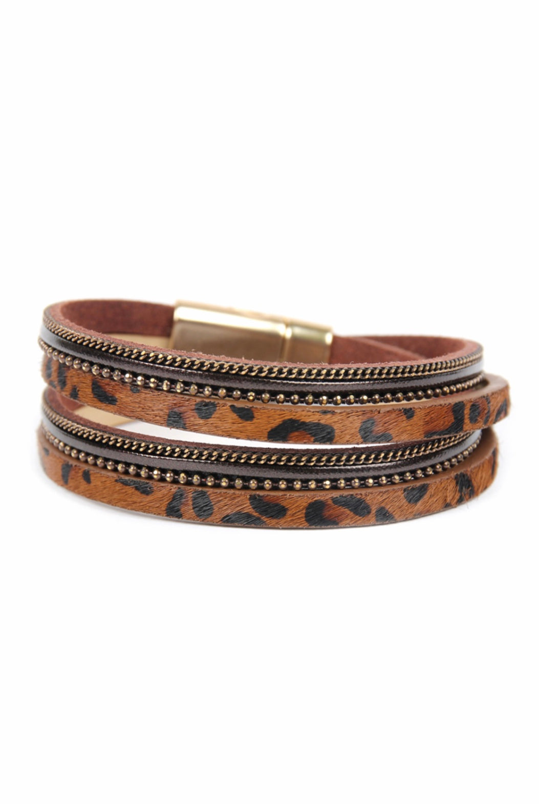 Brown Faux Animal Skin Magnetic Lock Wrap Bracelet
