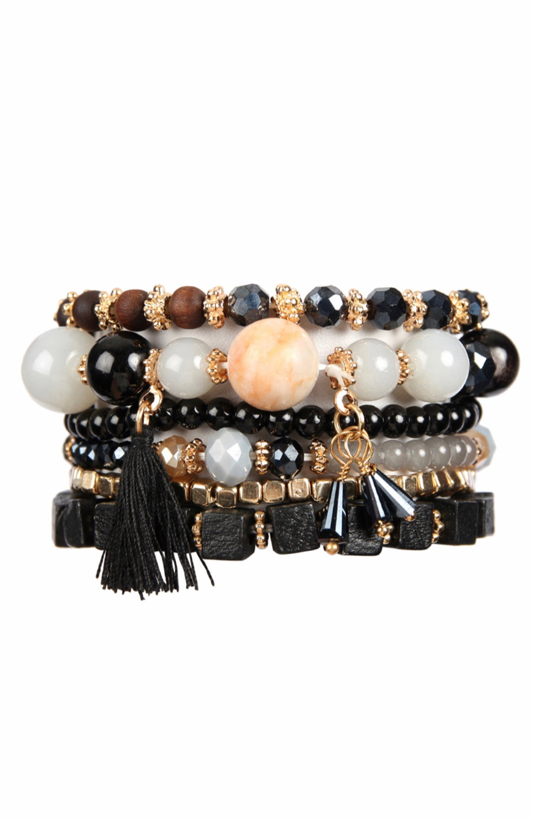 Black/Natural Charm Stack Bracelet