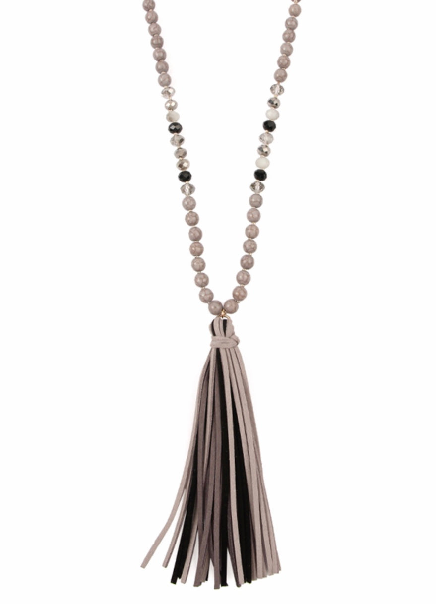 Grey colorful Stone Leather Tassel Necklace