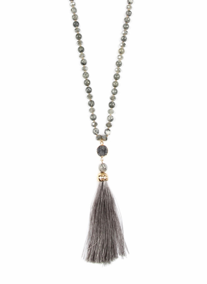 Grey colorful Stone Tassel Necklace