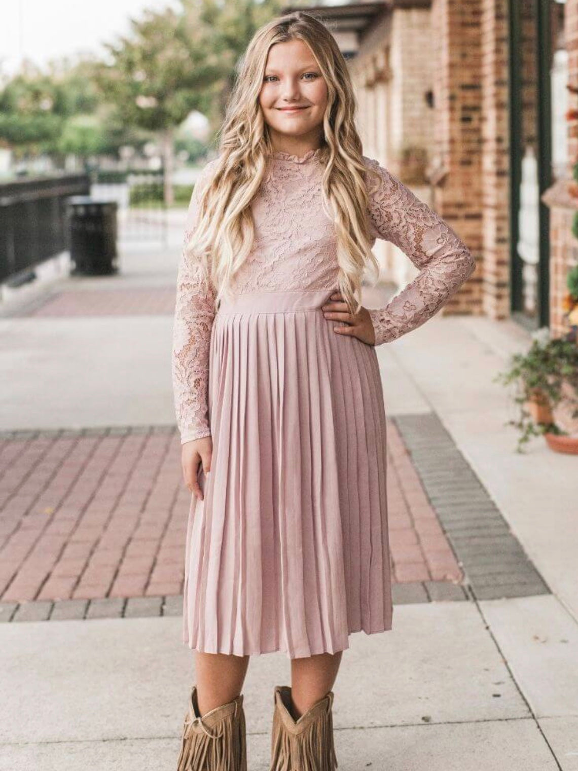 Mauve Lace and Pleats Dress