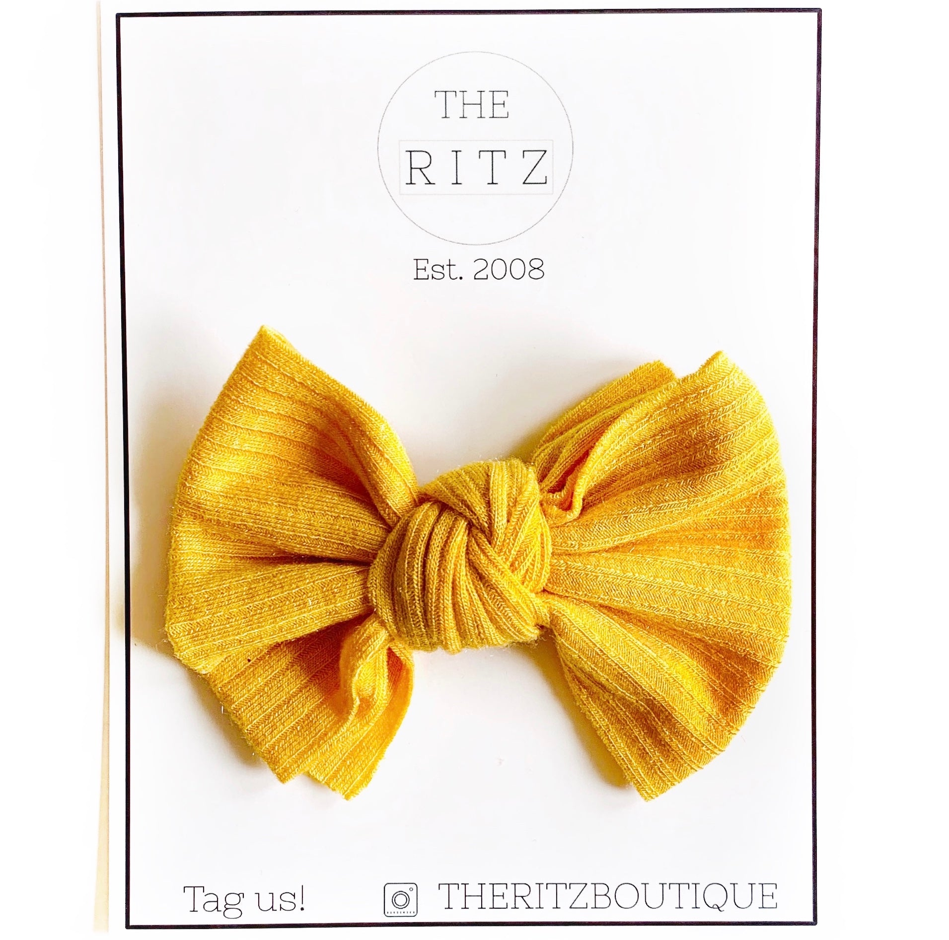 Yellow Ribbed Fabric Knot Midi Bow