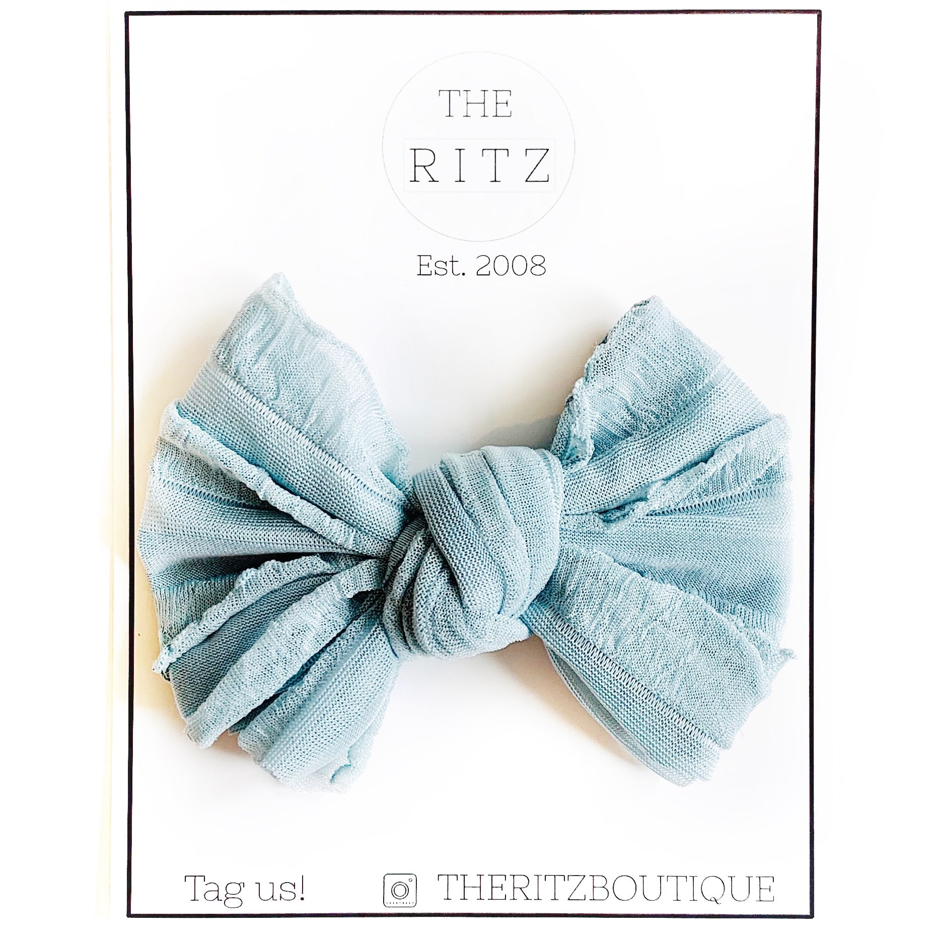 Dusty Blue Elegant Ruffle Midi Bow