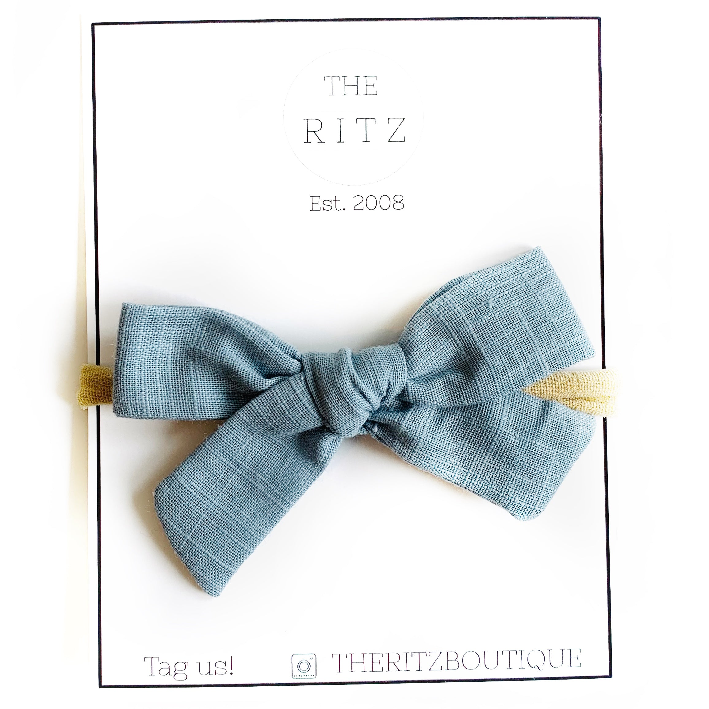 Dusty Blue Linen Midi Bow