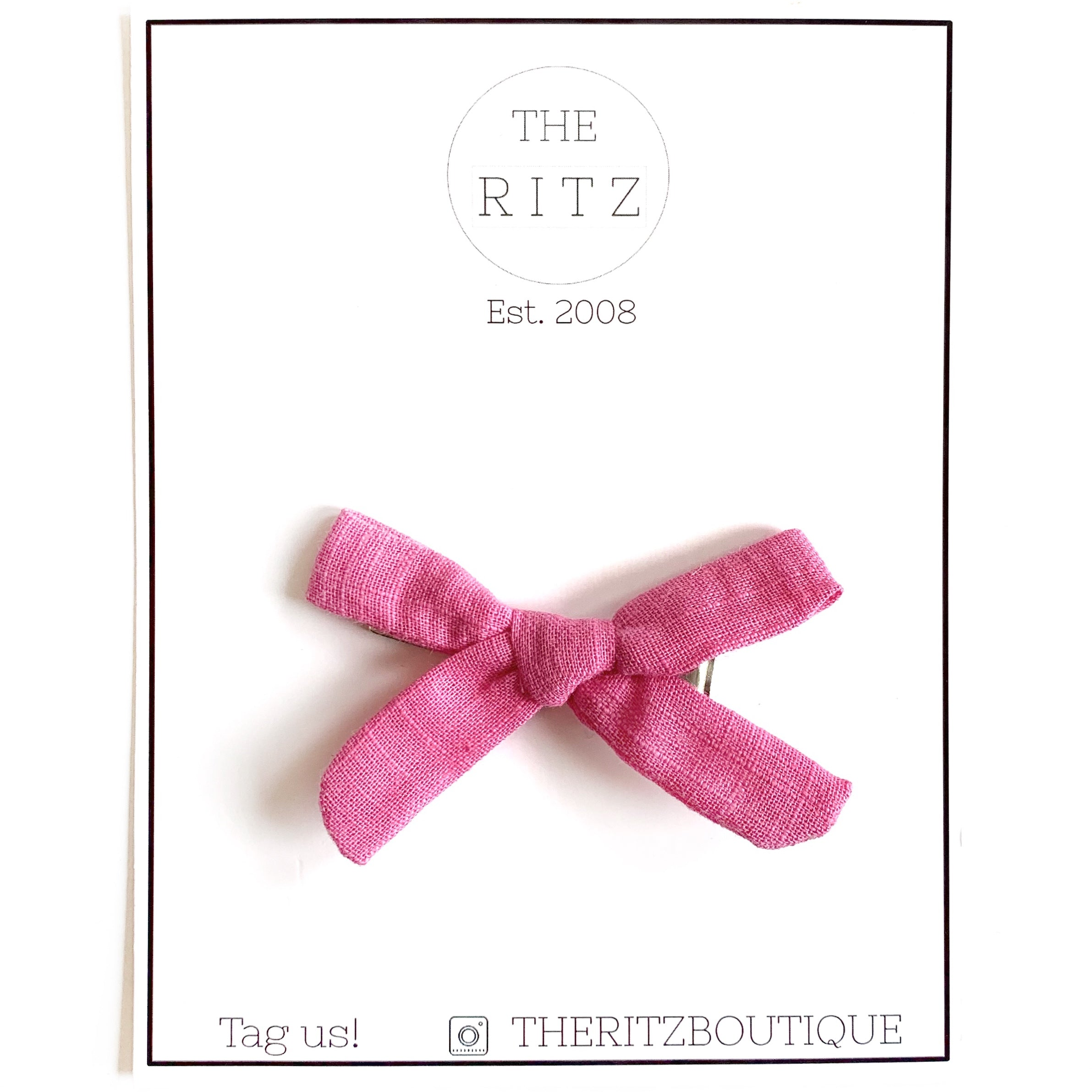 Hot Pink Mini Linen Bow