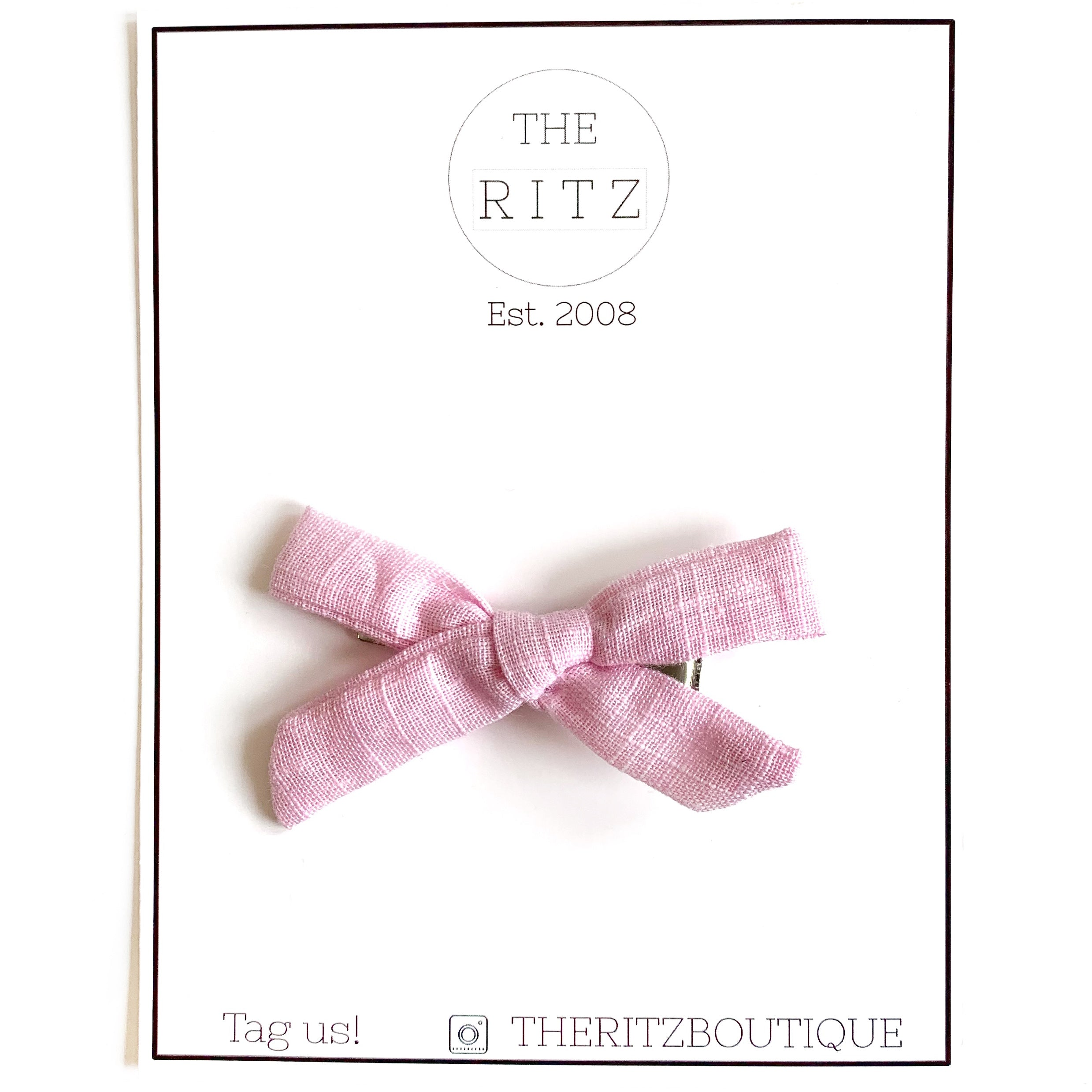 Bubblegum Pink Mini Linen Bow