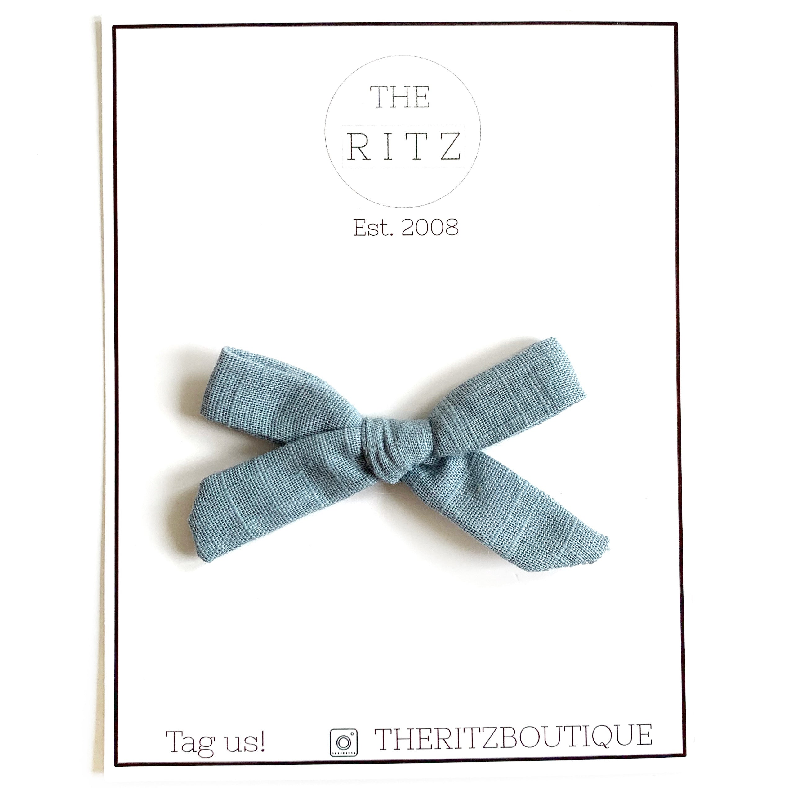 Dusty Blue Mini Linen Bow