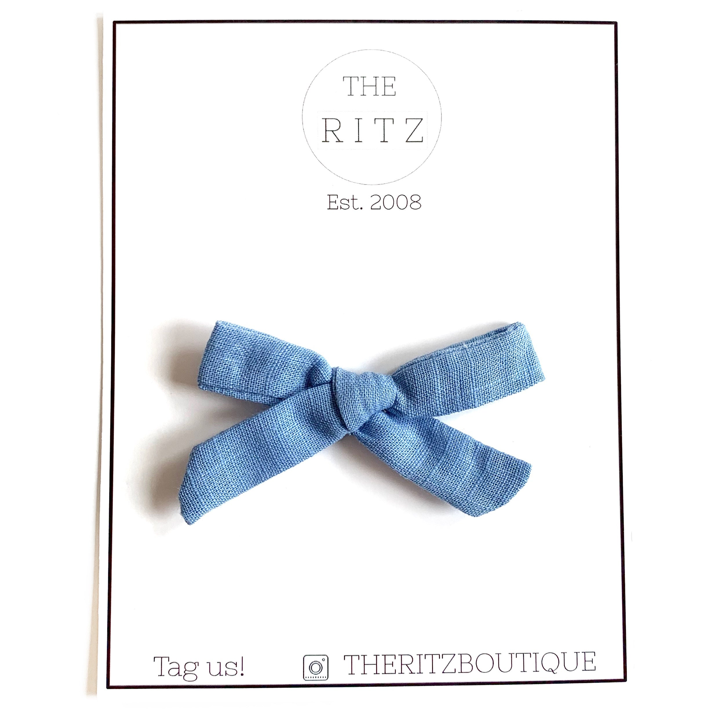 Cornflower Mini Linen Bow