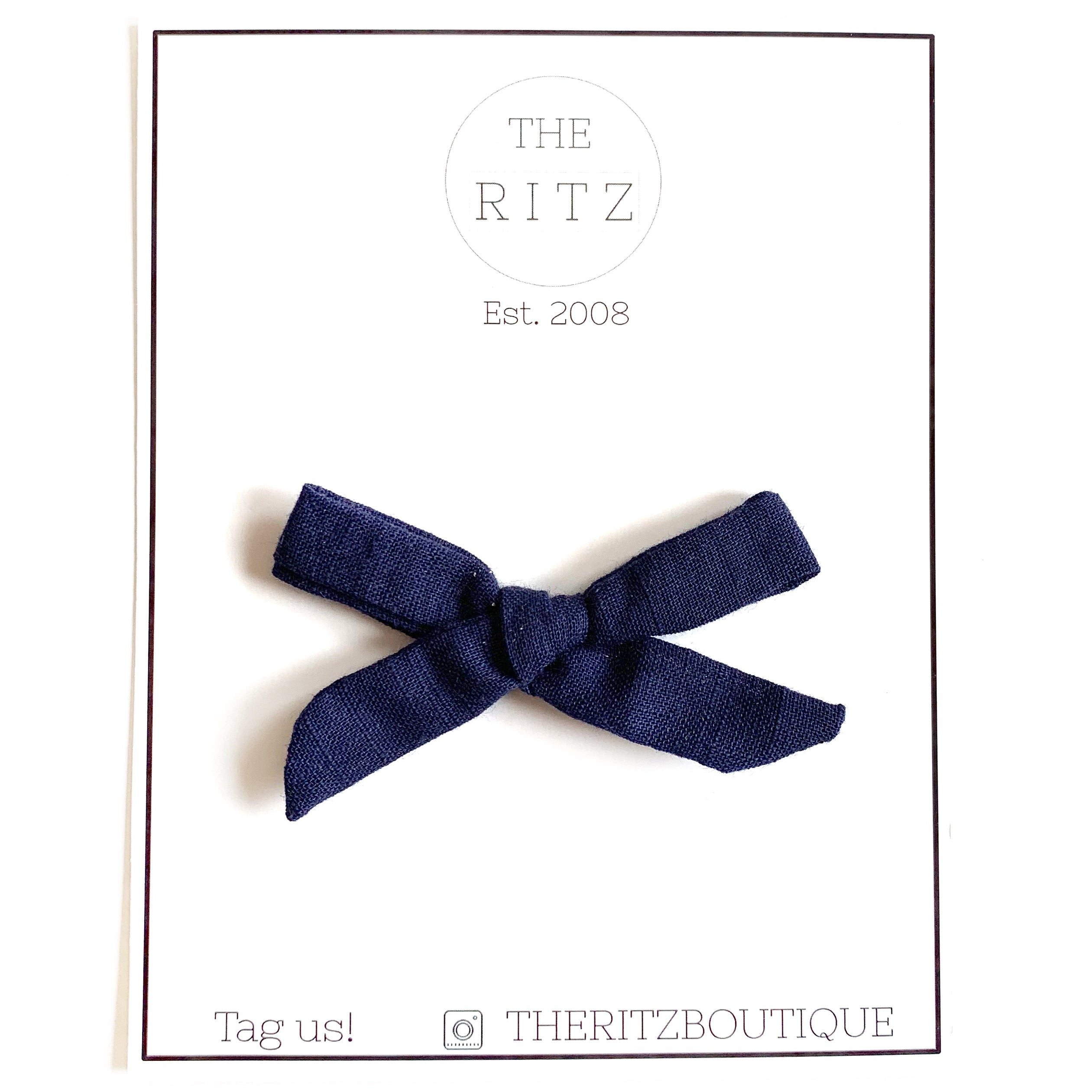 Navy Mini Linen Bow