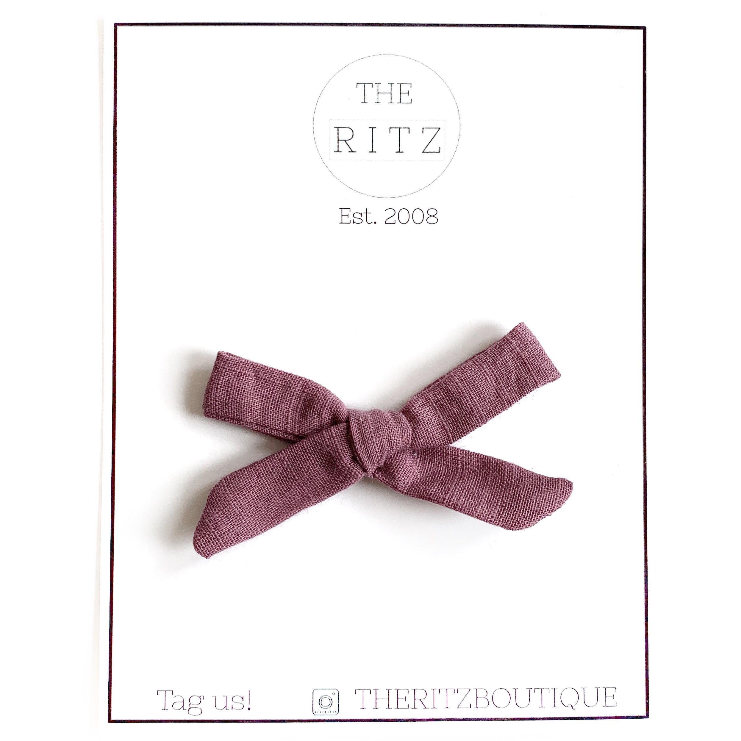 Vintage Plum Mini Linen Bow