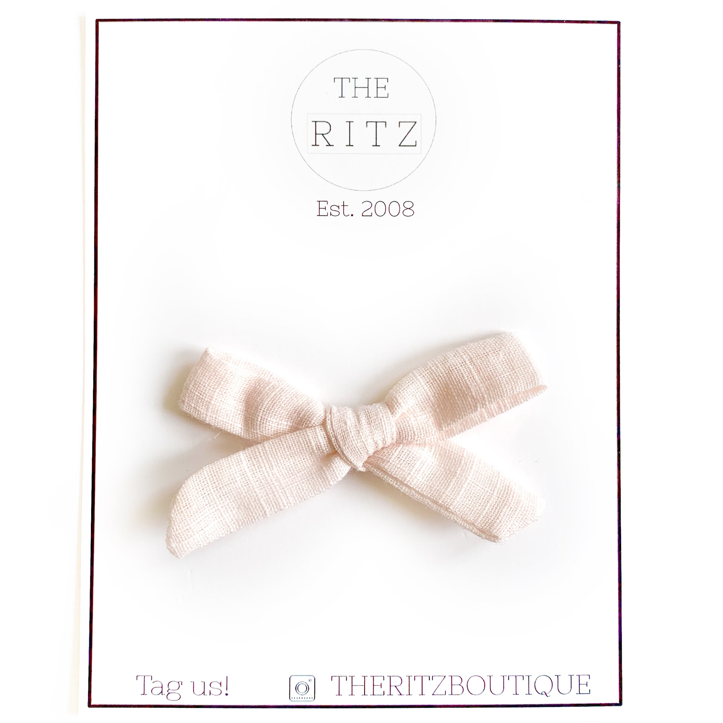 Pale Peach Mini Linen Bow