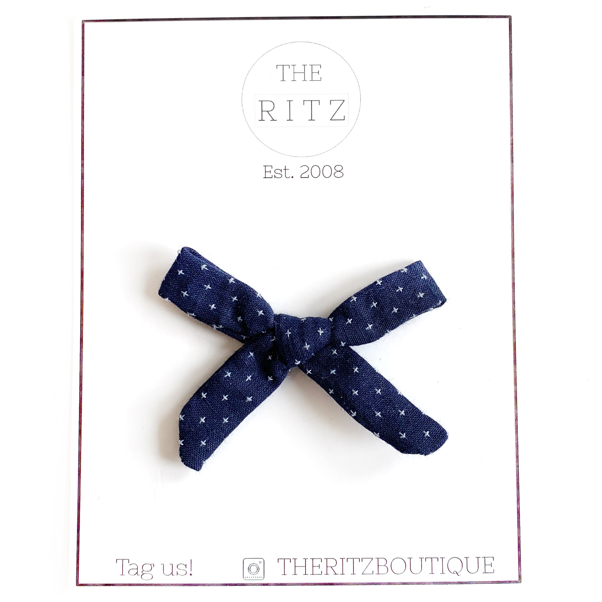 Navy Mini Swiss Cross Linen Bow
