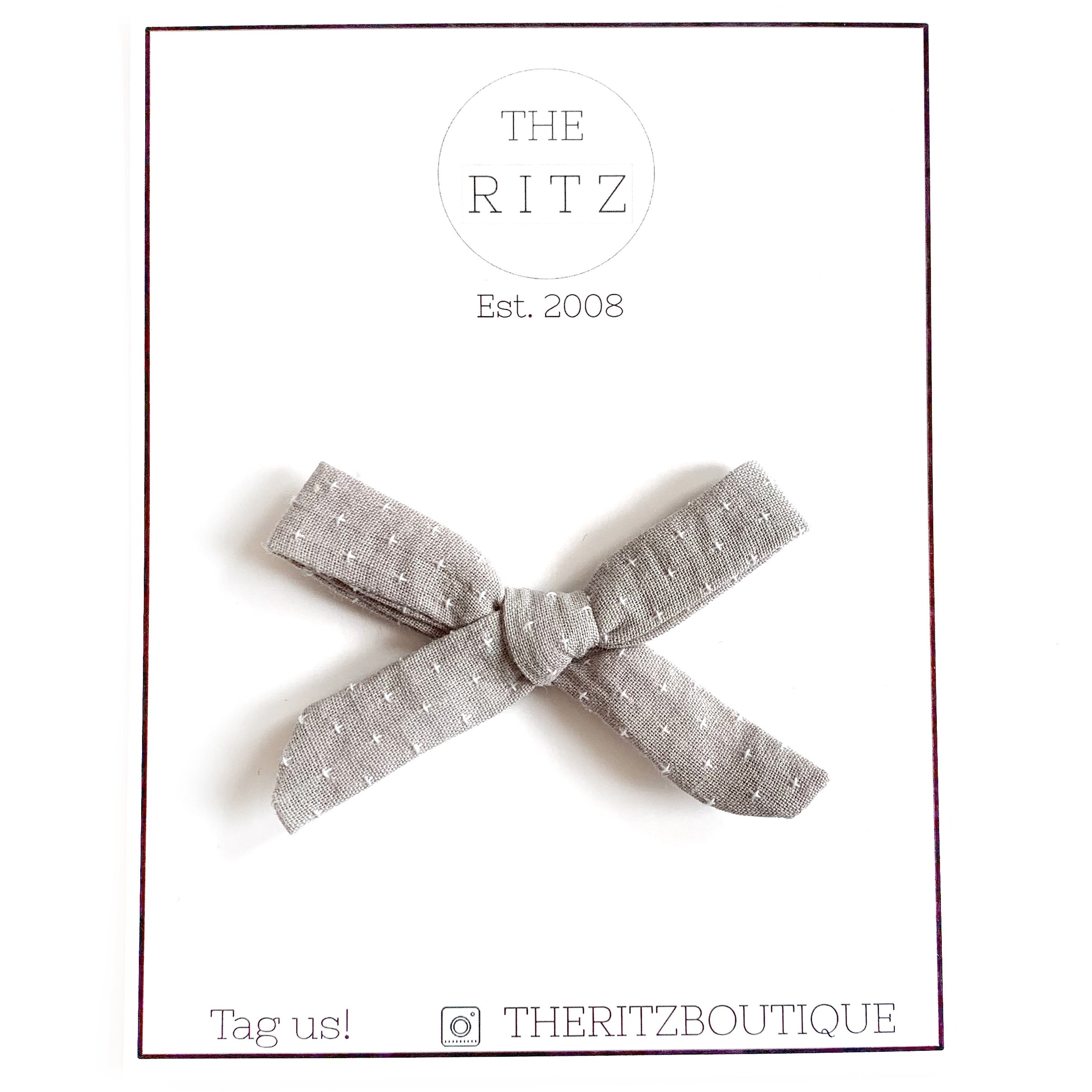 Grey Mini Swiss Cross Linen Bow