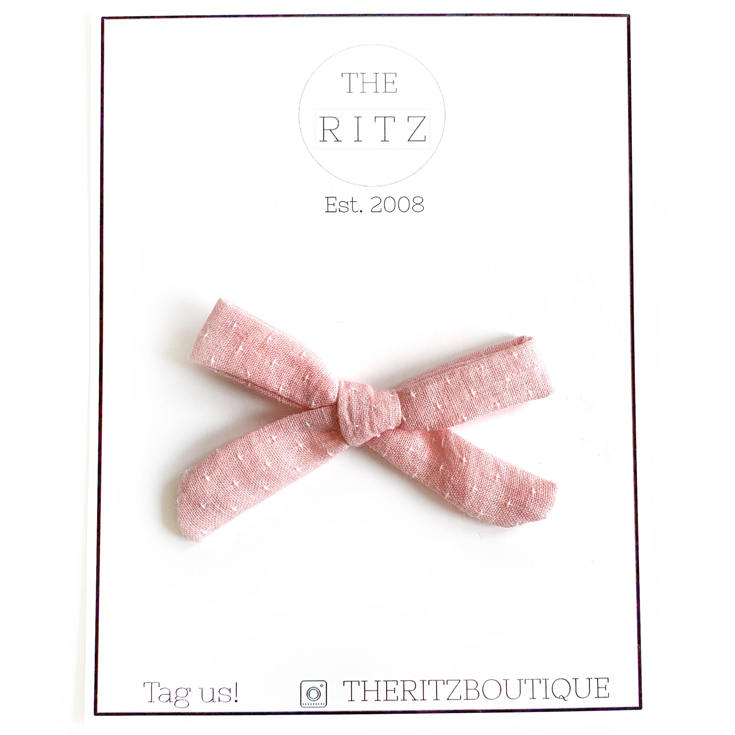 Blush Mini Swiss Cross Linen Bow
