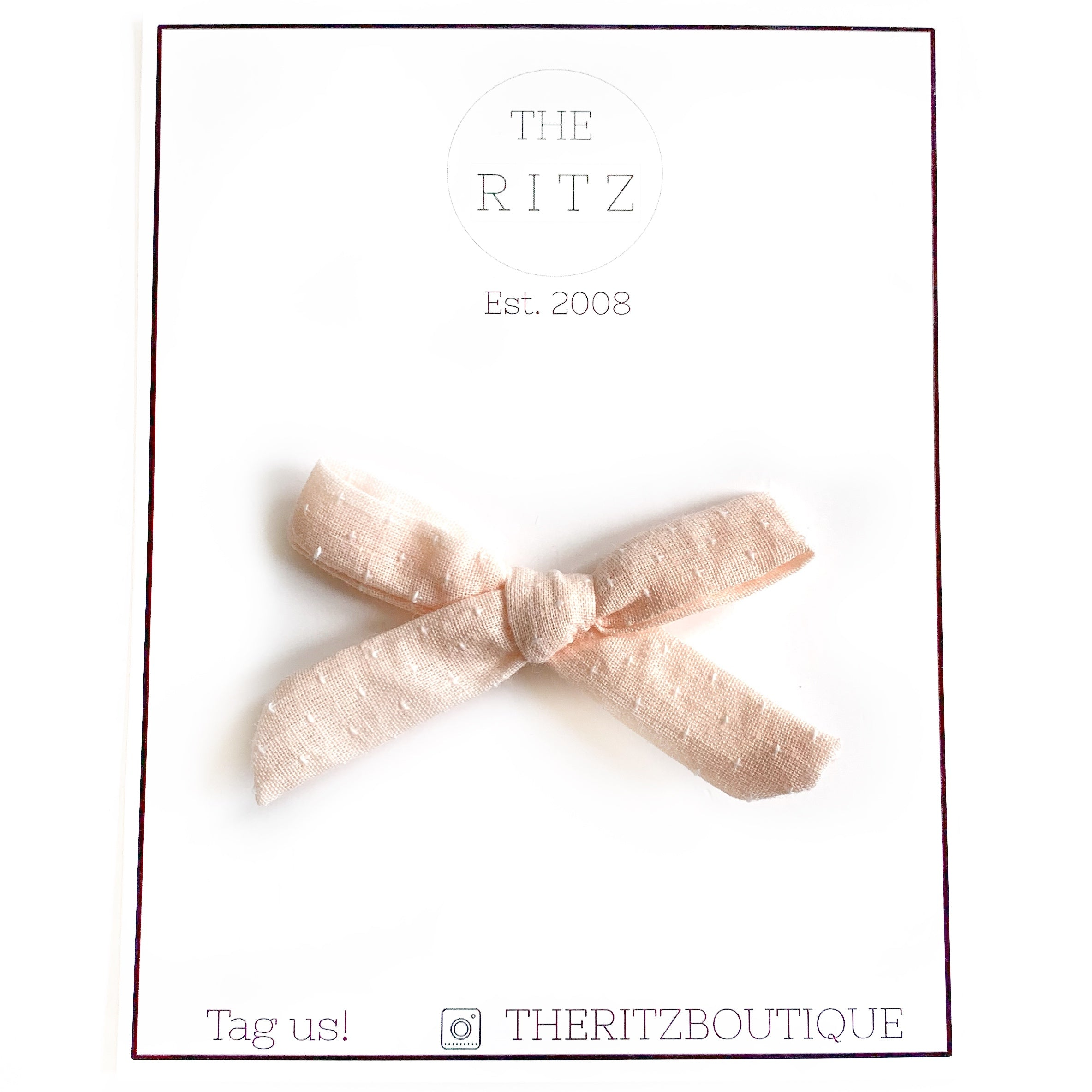 Pale Peach Mini Swiss Cross Linen Bow