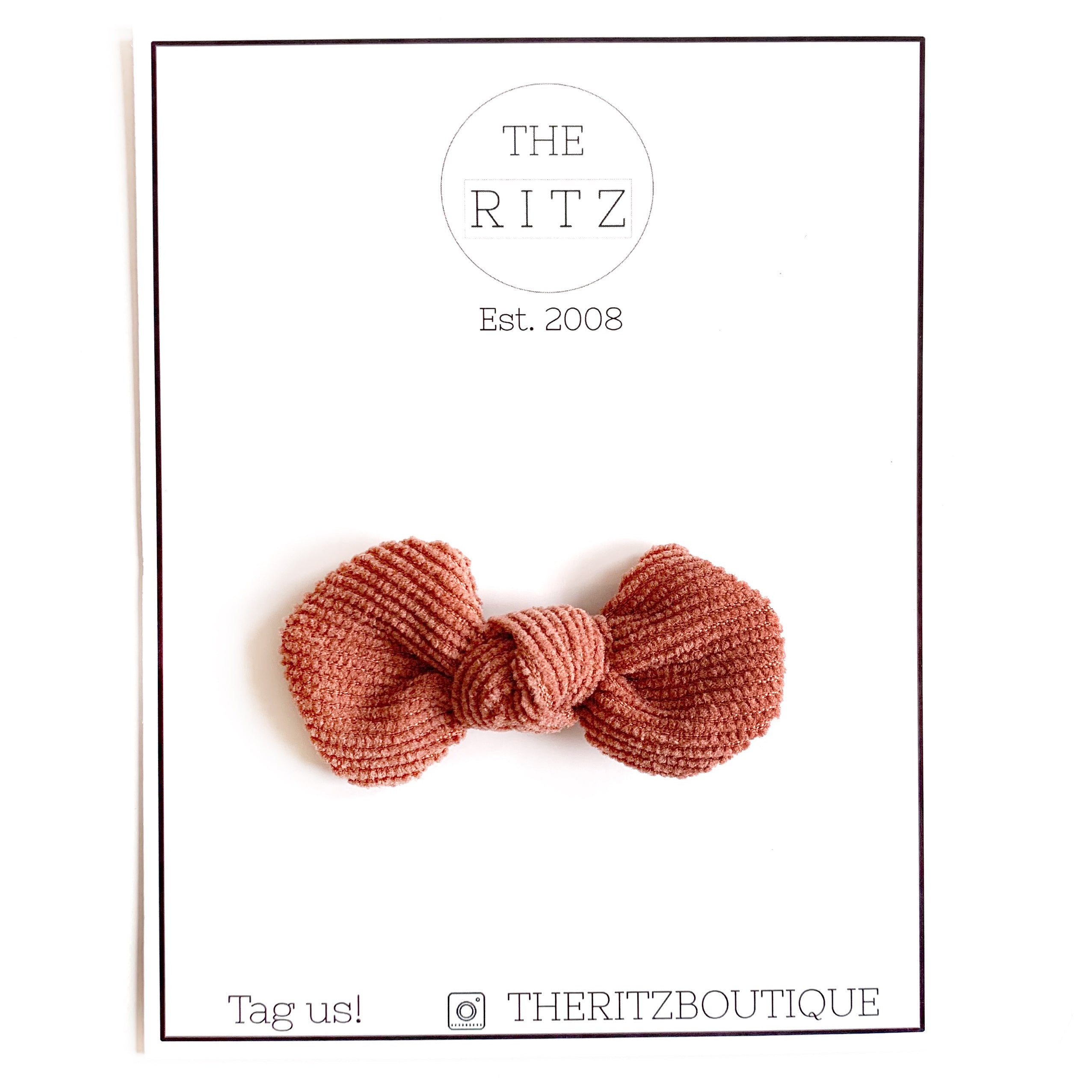 Terracotta Mini Pinwheel Corduroy Bow