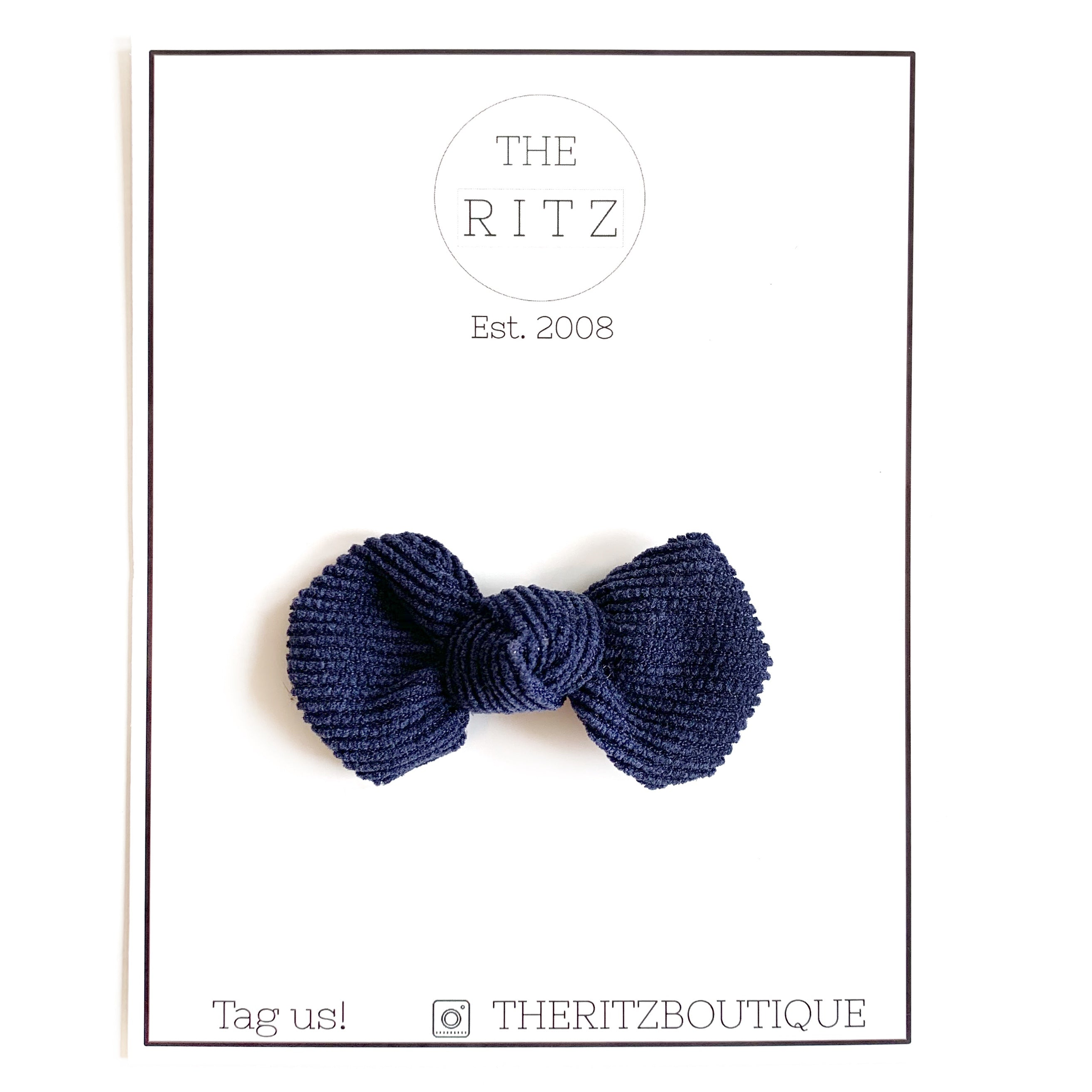 Navy Mini Pinwheel Corduroy Bow